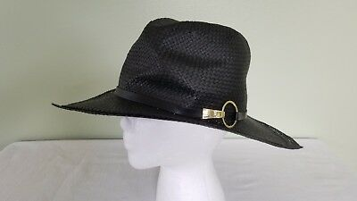 VINCE CAMUTO WOMEN S black paper straw woven cowboy fedora hat ... ff3cd89f180