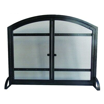 Fireplace Screen Doors Harper Arched Durable Steel Heavy Duty Antique Black New