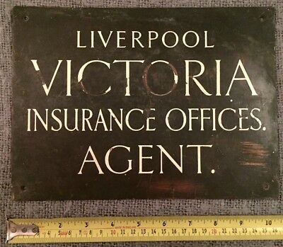 Rare Find Original Antique Solid Bronze Sign Liverpool Victoria Insurance C1923