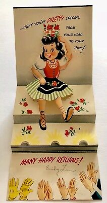Vintage Birthday Card Red Rose Girl Lady Dress Clap 3D Pop Up Stage Mcm Flower