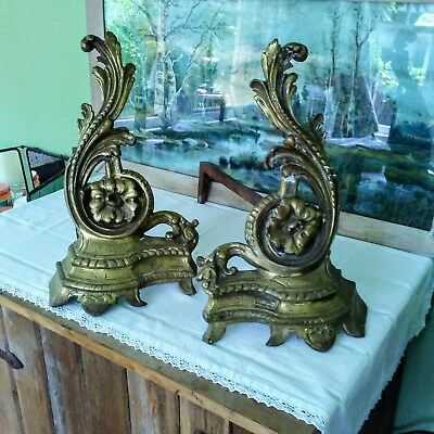 Antique French Louis XV Rococo Style Brass/Bronze Fireplace Andirons