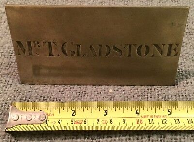 Rare Find Original Antique Solid Bronze Name Plaque Mr T Gladstone C1880