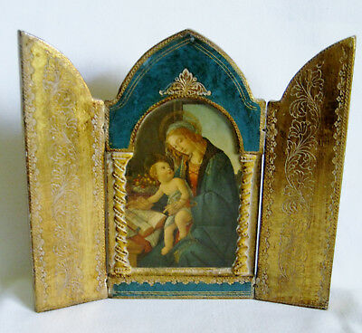 Vtg ITALY FLORENTINE TRIPTYCH Hand Painted Gold Folding MADONNA & CHILD PLAQUE