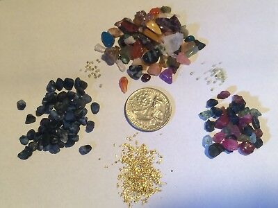 Alaska Gold Diamond Sapphire Ruby's Gemstone Paydirt Concentrate w/placer Gold