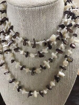 Vintage Faux Pearl Mother of Pearl Necklace Chip Design