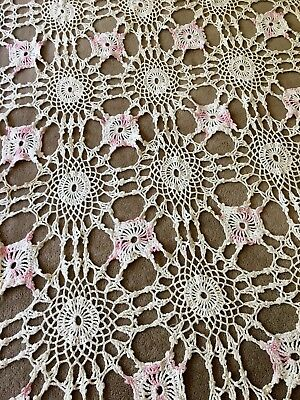 "Vintage Hand Crochet TableCloth Pink Accents 52"" x 66"""