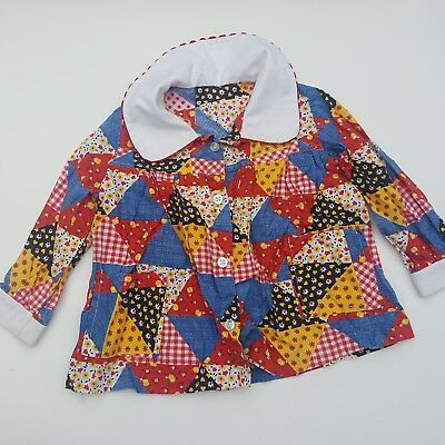 Vintage 70s 80s Cotton patchwork summer red peter pan collar tunic top 1-2yrs