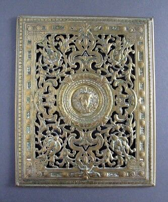"""Antique Victorian 1881 Brass Ornate Wall / Floor Grate Vent Grille - 11"""" x 9"""""""