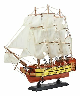 """Wooden Sailboat 14""""Tall Frigate Warship Figure Ships Collectible"""
