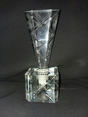 Vintage Antique Cut Crystal Clear Glass Perfume Bottle Decanter with Stopper