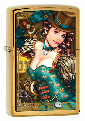 Zippo Lady Industrial Machinery Steampunk Top Hat Brass Lighter 28321 *NEW*