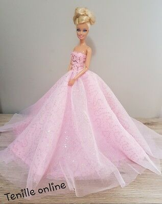 New Barbie clothes outfit princess wedding dress pink