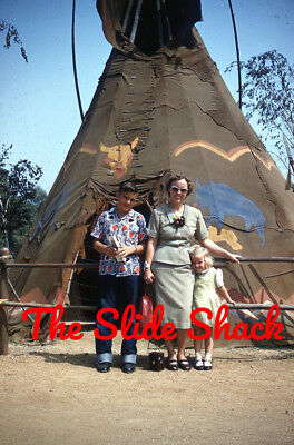 Disneyland Indian Village family in front of Teepee 1950's Kodachrome 35mm slide