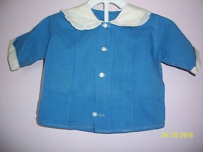 Vintage 1930's Blue Cotton Shirt with White Collar