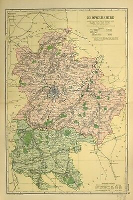 1895 Antique Map Bedfordshire Harrold Bedford Shefford Ampthill Dunstable Woburn