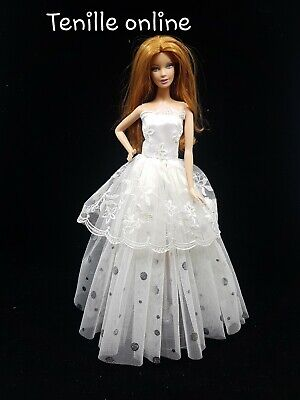 New Barbie clothes outfit princess wedding dress ballet cocktail white silver
