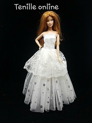 New Barbie clothes outfit princess wedding dress traditional white silver &shoes