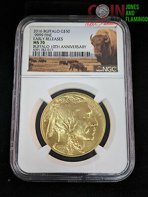 2016 Buffalo $50 1 Ounce .999 Gold Coin Ngc Graded Ms70 Early Release Coin #7829