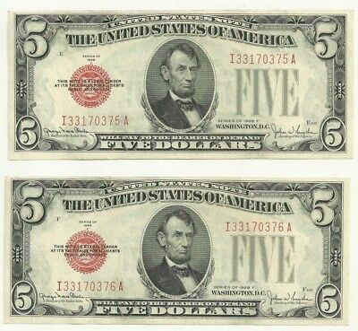 1928 F Red seal $5 UNC CONSECUTIVE united states currency