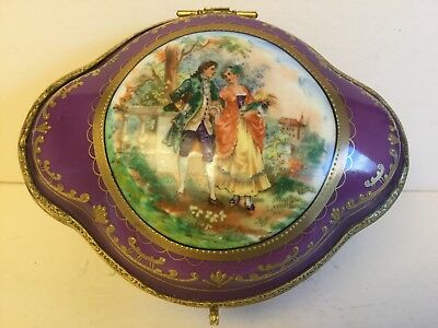 Antique Austria Porcelain Hand Painted Purple/Gold w/Cameo Box,circa 1900