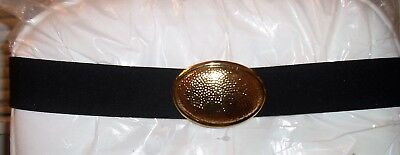 Vtg DAY-LOR Goldtone Hammered Buckle w/Black STRETCH Elastic Wide Belt Signed
