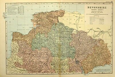 1895 Antique Map Devonshire North Barnstaple Ilfracombe Tiverton Exeter