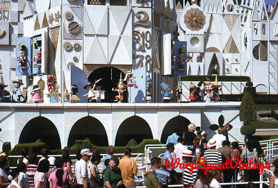 Disneyland It's a Small World people in entrance line 1971 Kodachrome 35mm slide