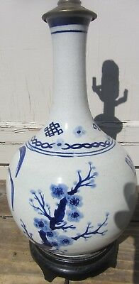 Beautiful Antique Chinese Blue And White Bottle Vase Lamp Porcelain Prunus
