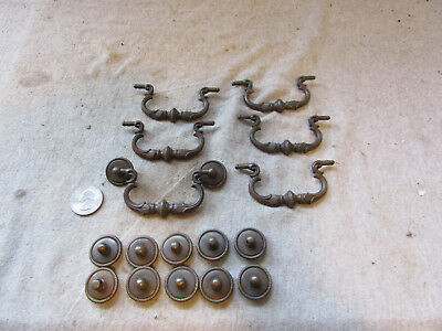 6 Vtg Antique Furniture Drop Handle Drawer Pulls Bails Back Plates Rope Edge