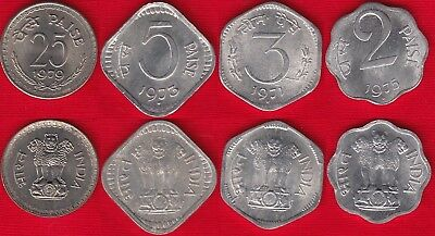 India set of 4 coins: 2 - 25 paise 1971-1979 UNC