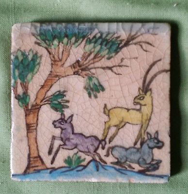Antique Pottery Tile Depicting an Oryx with 2 Kids