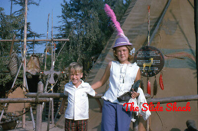 Disneyland young girl and boy in front of Indian Village Tepee 1963 35mm slide
