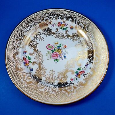 """Rich Gold and Handpainted Florals Hammersley Dinner Plate 10 1/2"""" (some crazing)"""