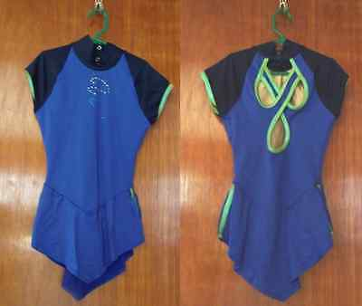 Ice SKATING Dress GK Royal Blue with lime green + crystals Girls 10 12 or AXS