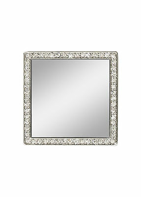 iDecoz Silver Square Cell Phone Mirror with Crystals Peel and Stick