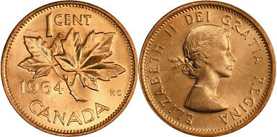 1964 Canadian 1 Cent Maple Leaf Penny Coin - Uncirculated in Mint Cello from set