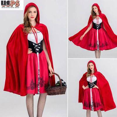 Adult Halloween Womens Little Red Riding Hood Party Costume Cosplay Fancy Dress