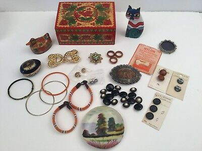 Vintage JUNK DRAWER LOT Jewelry Box 22k gold, Rings Belt Buckle, Buttons, Brooch