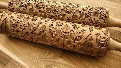 Engraved FOLKLORE PATTERNS rolling pin wooden laser cut pattern unique design