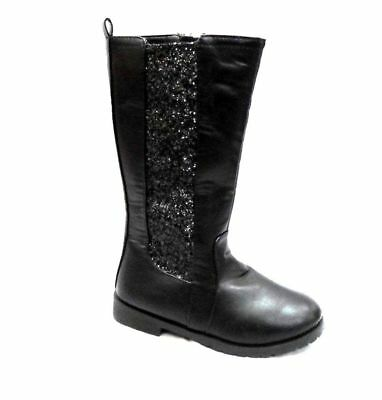Brianna Girls Black Knee High Boots With Glitter Panel And Inside Zip Fastening