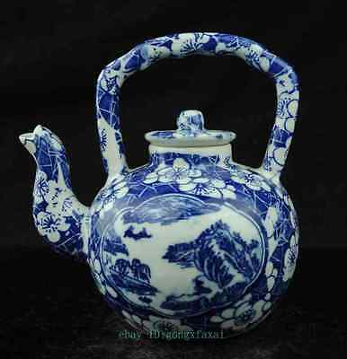 Fine china Blue and White Porcelain Hand Painted landscape painting teapot c01