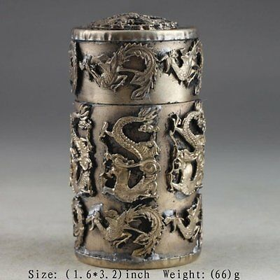 Superb Vintage Armored Dragon Phoenix Chinese Copper Handwork Toothpick Box