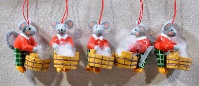 """Group of 5 Laundry Mouse Guys 1 ½"""" Christmas ornaments"""