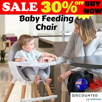 Baby High Chair Feeding Wooden Highchair Adjustable Toddler Portable Home Kids