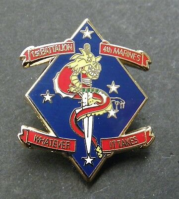 MARINE CORPS 1st BATTALION 4th MARINES LAPEL PIN BADGE 1 INCH USMC