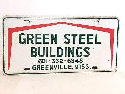 1970s Greenville Mississippi License Plate Car Tag GREEN STEEL BUILDINGS