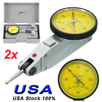 2Set Pro Lever Dial Test Indicator Meter Tool Kit Precision 0.01mm Gage w/ Box