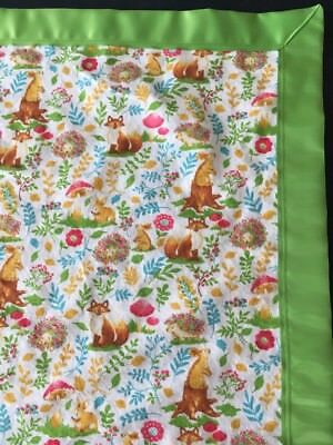 Baby Blanket New Baby Animal XL Flannel Receiving Swaddling Security Satin Trim