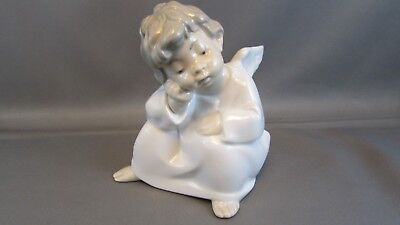 Vintage Lladro Figurine Porcelain 4539 Thinking Angel  Mint Condition