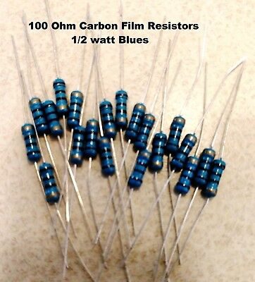 100 ohm 1/2Watt  BLUE Carbon Film Resistors 5%  You get 20 resistors